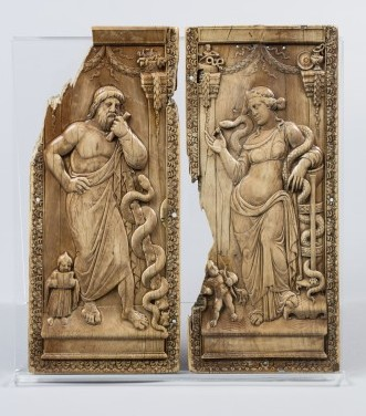 Asclepius and Hygieia diptych, Rome (?) or Italy, 400–430 AD, ivory. National Museums Liverpool, World Museum, inv. no. M10044 © Courtesy of National Museums Liverpool