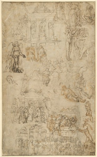 Unknown artist, Sketches of objects from antiquity and the early Renaissance, ca. 1500. Hamburg, Kunsthalle, Kupferstichkabinett, inv. no. 21205 © Hamburg Kunsthalle / bpk. Photo: Christoph Irrgang