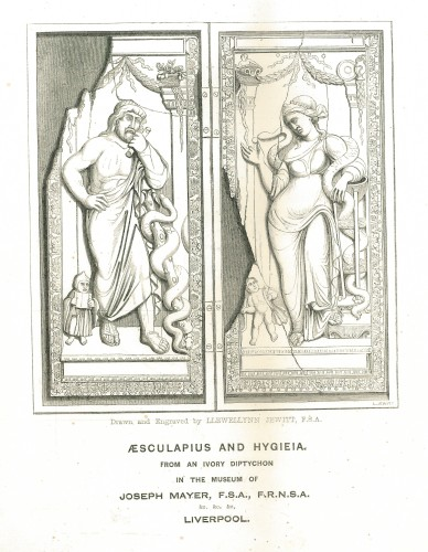 Llewellyn Jewitt's engraving of the Asclepius and Hygieia diptych. Frontispiece in Francis Pulszky, Catalogue of the Fejérváry Ivories, in the Museum of Joseph Mayer [...]; preceded by an Essay on Antique Ivories, Liverpool, 1856. Digital image © Library of the Hungarian Academy of Sciences